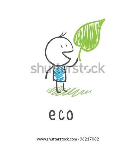 Eco man. - stock photo