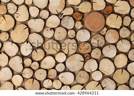 Eco natural wooden decor of tree light brown round stumps wallpaper