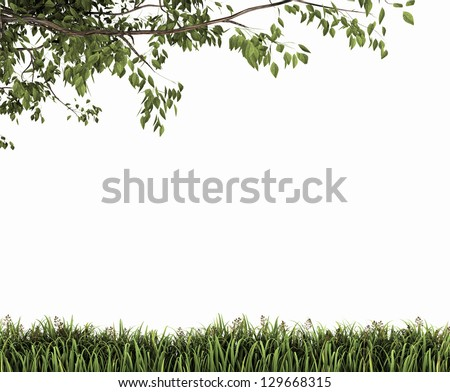 Eco nature green background. Season tree with grass. - stock photo