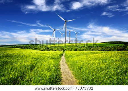 Eco power in nature landscape - stock photo