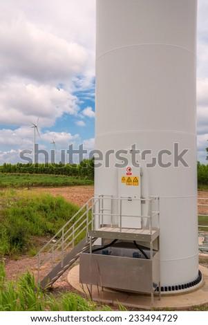 Eco power in wind turbine farm - stock photo