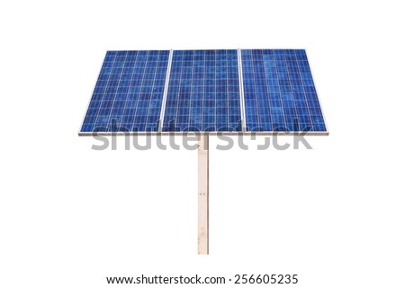 Eco power,Power plant using renewable solar cell on white background with clipping path - stock photo