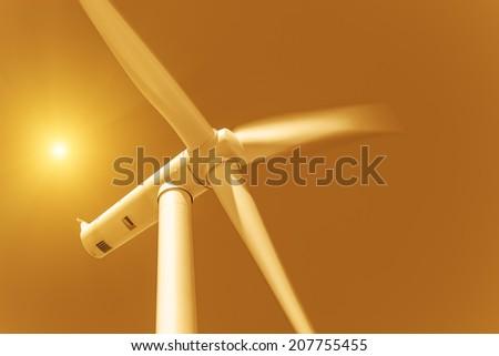 Eco power, wind turbine - stock photo
