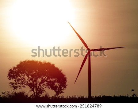 Eco power .Wind turbine generator farm. Vintage filter. - stock photo