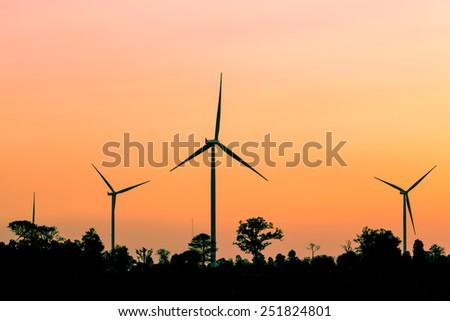 Eco power .Wind turbine generator farm. Vintage filter. - stock photo
