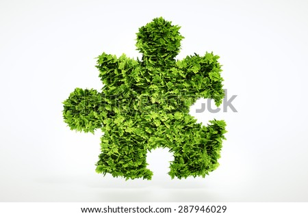 Eco puzzle sign - with included clipping path - stock photo