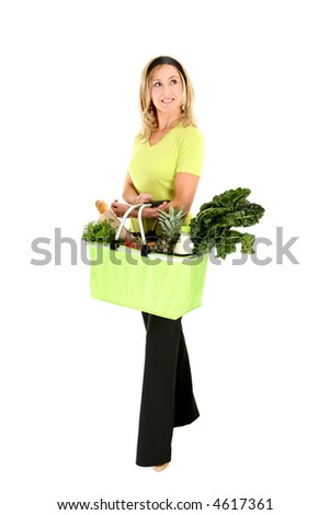 Eco shopper with basket of groceries looking sideways, space for copy - stock photo
