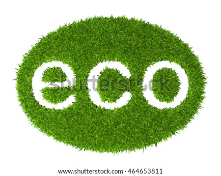 Eco sign oval stamp from green grass. 3d illustration isolated on a white background.