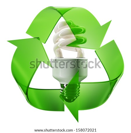 Eco sign with energy saving lightbulb - stock photo