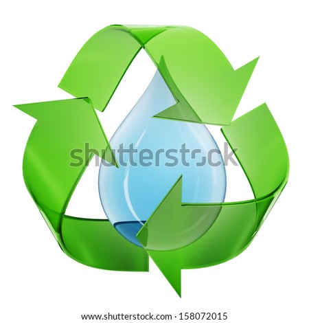 Eco sign with water droplet - stock photo