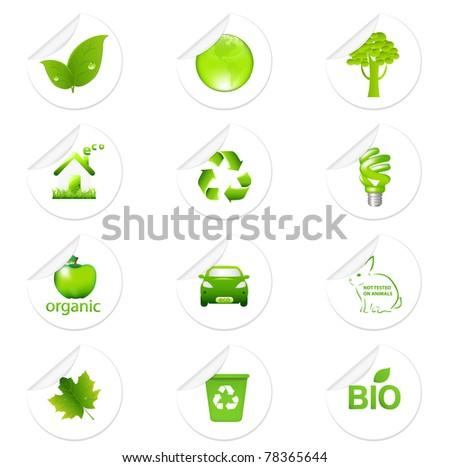 Eco Sticker Set, Isolated On White Background - stock photo