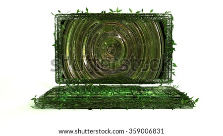 Eco Technology A laptop half made of tangled leafy vines, and half futuristic glass... Isolated on white. - stock photo
