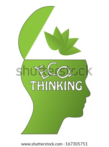 Eco thinking concept with open head, leaf and text. Raster version of easy to edit ecologic design.  - stock photo