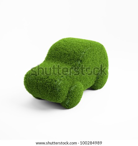 Eco transport concept illustration - 3d grass covered car icon - stock photo
