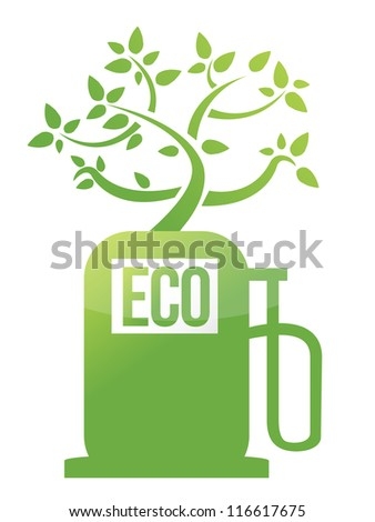 eco tree gas pump illustration design over white - stock photo