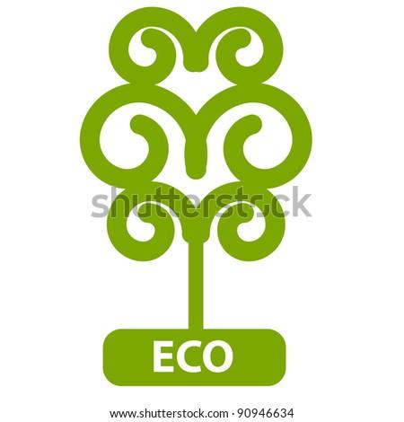 Eco Tree, Isolated On White Background, Raster version Illustration - stock photo
