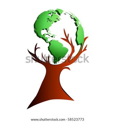Eco tree (world map) - stock photo