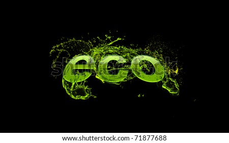 eco word in fresh green water