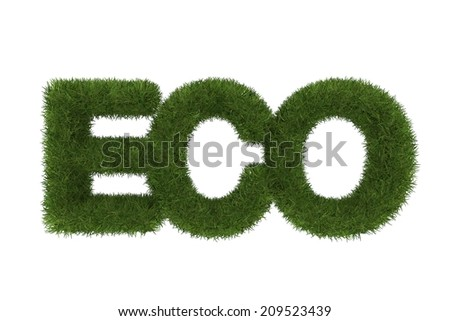 Eco word made of green grass ,3d - stock photo