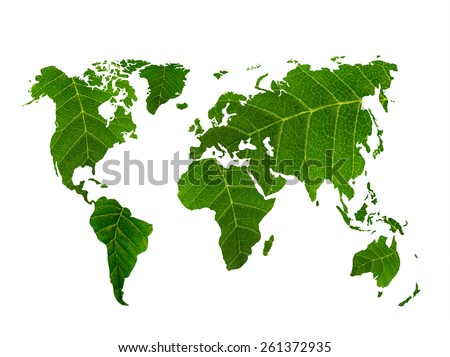 eco world map made of green leaves, concept ecology  - stock photo