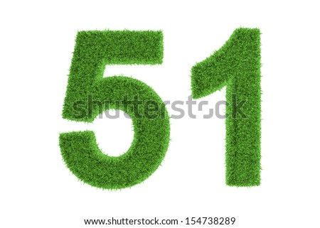 Ecofriendly symbol of number 51, filled with grass pattern, isolated on white background