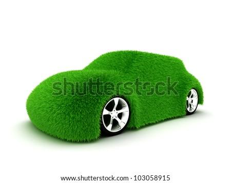 Ecologic green car isolated on white background - stock photo