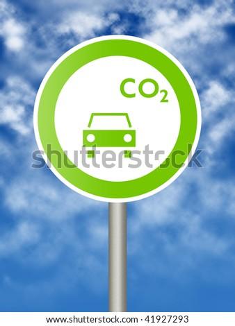 Ecologic traffic sign on blue sky - stock photo