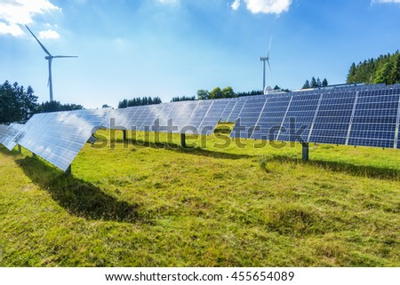 Ecological and renewable power sources with wind mills and photovoltaic panels