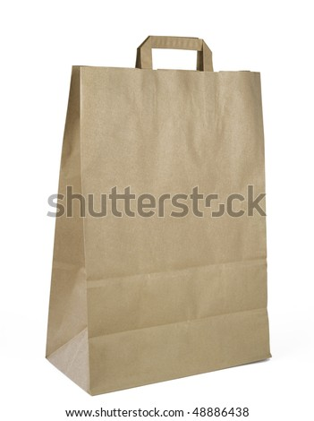 Ecological brown paper bag, isolated on white background,clipping path - stock photo