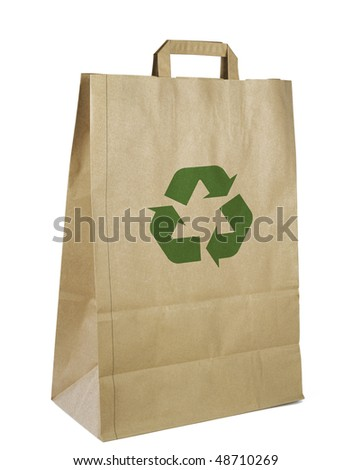 Ecological brown paper bag with recycling symbol, isolated on white background,clipping path - stock photo