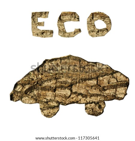ecological car and sign from bark texture isolated - stock photo