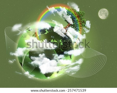 Ecological concept illustration of green planet Earth. Concept of new life, rebirth and hope; ecology. - stock photo