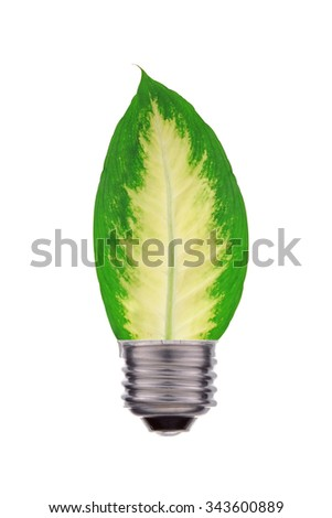 Ecological concept, leaf and lamp mix together isolated on white - stock photo