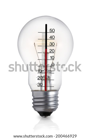 Ecological concept/Light bulb withThermometer/with path
