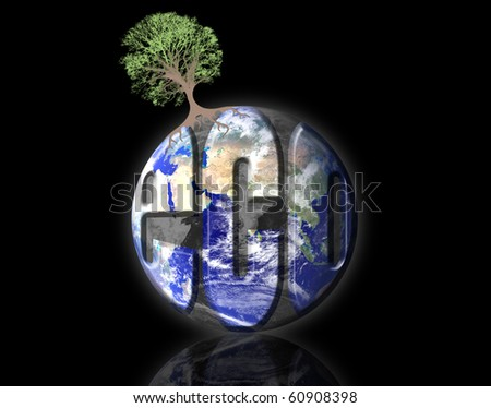 Ecological earth with a tree