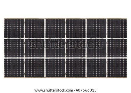 Ecological energy renewable solar panel plant electric power isolated on white background. This has clipping path.. - stock photo