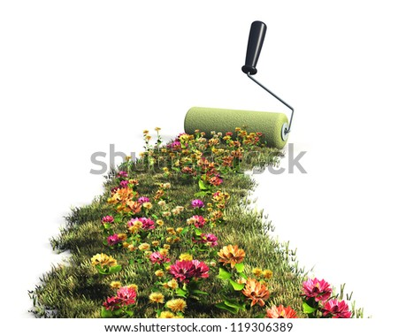 Ecological, environment protection and nature saving concept: drawing fresh green grass meadow with colorful flowers with paint roller brush isolated on white background - stock photo
