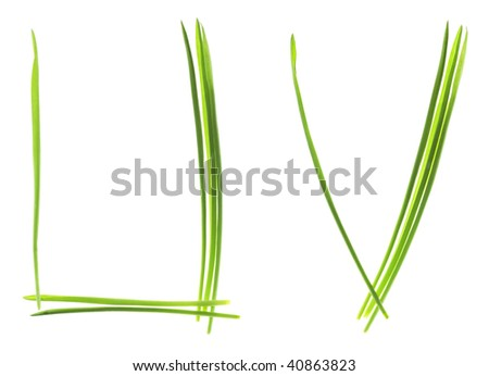 Ecological font. Letters made from grass blades isolated on white - stock photo