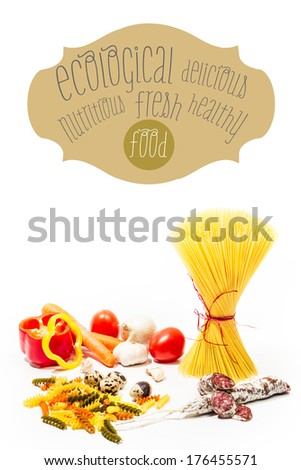 Ecological food design. Raw pasta with vegetables and salami. It - stock photo
