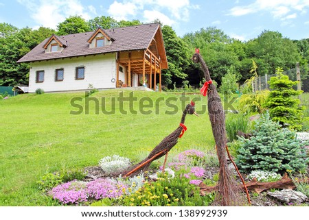 ecological house in nature - stock photo