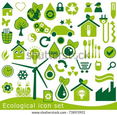 ecological icons set - stock photo