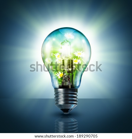 ecological idea - green in lamp  - stock photo
