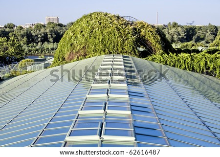 Ecological modern building of library. Warsaw University.Europe. - stock photo