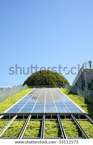 Ecological modern building . Warsaw University.Europe. - stock photo