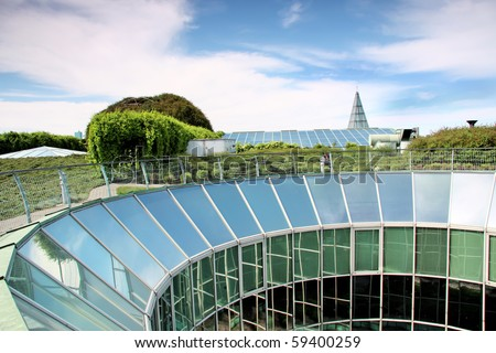 Ecological modern building . Warsaw University in Poland. - stock photo