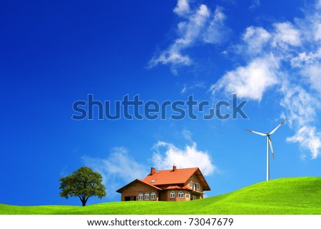 Ecological new house on the hill - stock photo