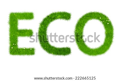 Ecological power symbol made out of grass