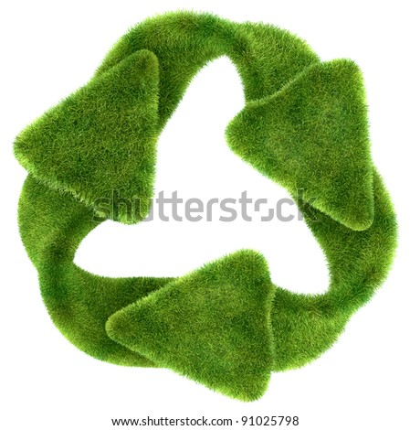 Ecological sustainability: green grass recycling symbol isolated on white - stock photo