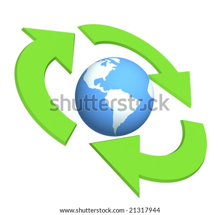 Ecological symbol -  Earth surrounded with green pointers. Object over white
