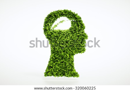 Ecological thinking concept isolated on white background. Clipping path is also included. - stock photo